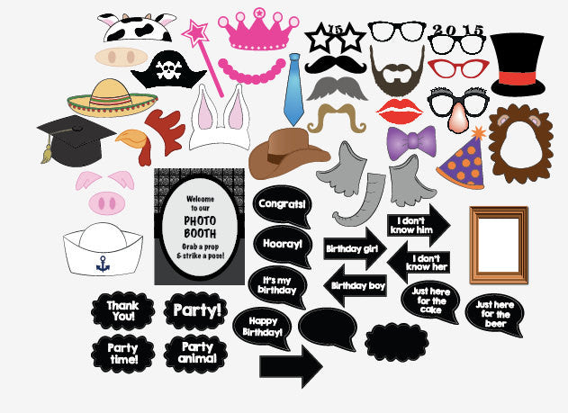 picture about Printable Photo Booth Props Birthday known as Birthday Picture Booth Props PRINTABLE
