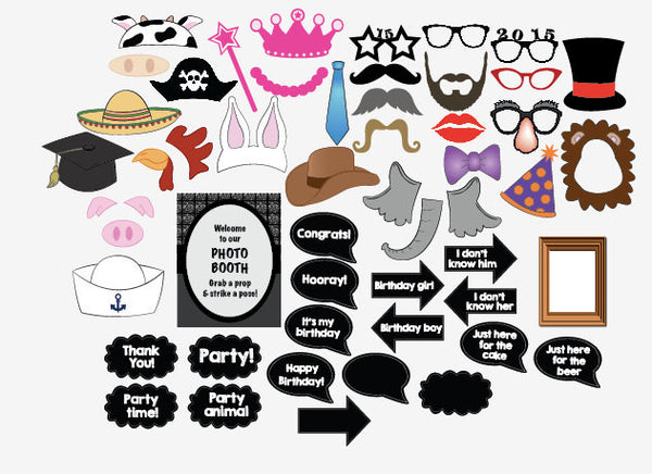 Birthday Photo Booth Props DIY printable photobooth digital party