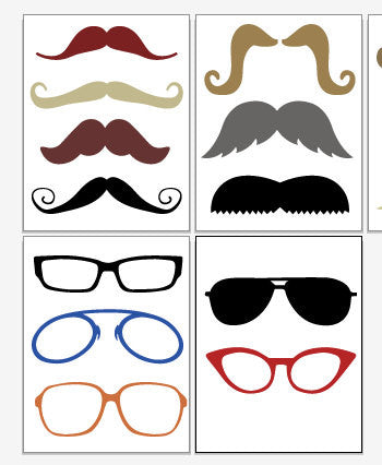 Glasses and Mustaches Photo Booth Props PRINTABLE