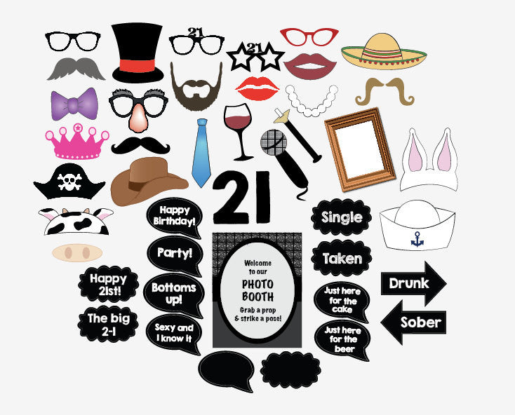 photo regarding Printable Photo Booth Props Birthday referred to as 21st Birthday image booth props. PRINTABLE