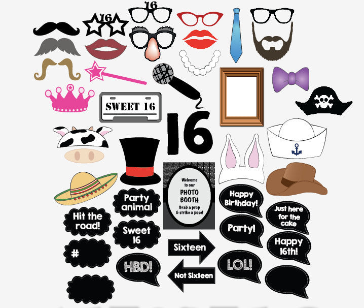 16th birthday photo booth props. Sweet 16 photo booth props.