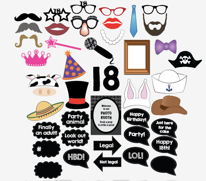 graphic about Printable Photo Booth Props titled 18th Birthday picture booth props. PRINTABLE