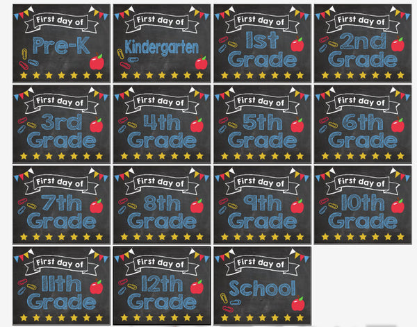 First Day of School signs Pre K-12 PRINTABLE
