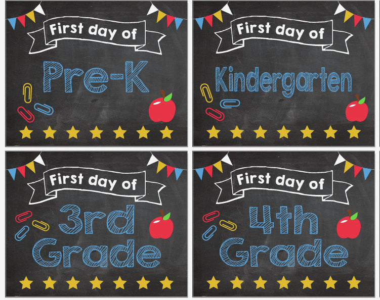 photo about First Day of Pre K Sign Printable referred to as To start with Working day of University indicators Pre K-12 PRINTABLE