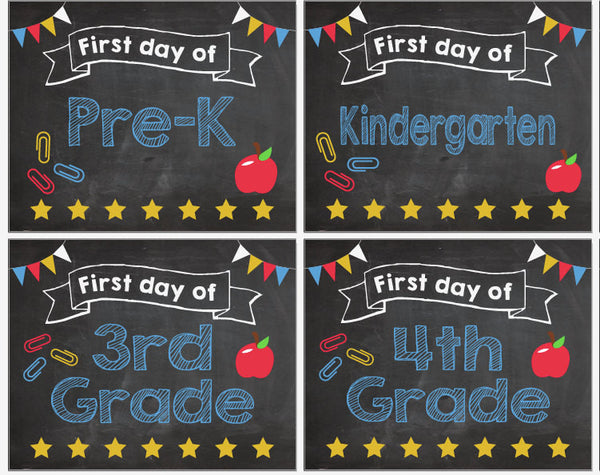 First Day Of School Signs Pre K 12 Printable Red Morning