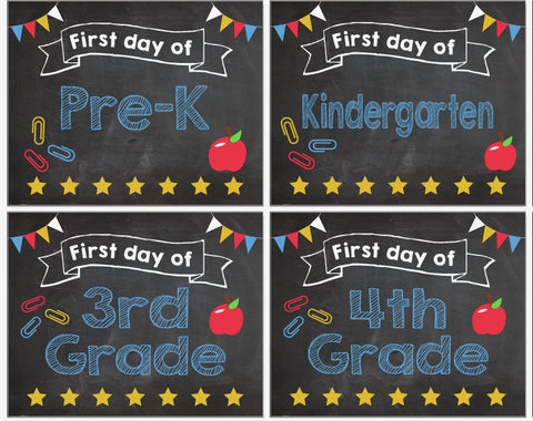 First Day of School signs K-12 INSTANT DOWNLOAD printable digital 1st Day of kindergarten preschool pre k K-12 chalkboard Chalk Board