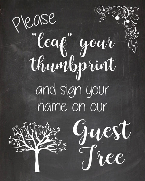 Leaf your print sign wedding guest tree sign PRINTABLE instant download chalkboard alternative guest book thumbprint