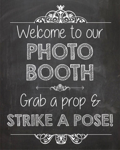photo booth welcome sign printable chalkboard sign. welcome to our photo booth.