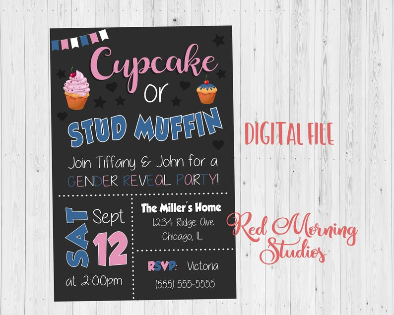 Cupcake or Stud muffin Gender Reveal Party Invitation PRINTABLE baby shower invite digital boy or girl he or she what will it be