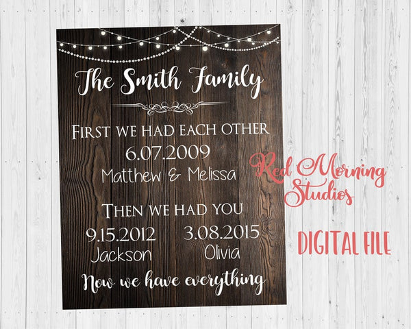 Important Family Dates sign. Custom Dates sign. Special Dates Art. PRINTABLE. First we had each other. Then we had you. we have everything