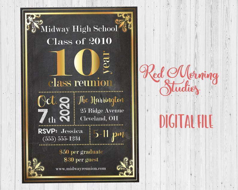 Class Reunion Invitation PRINTABLE class of invite DIGITAL high school college
