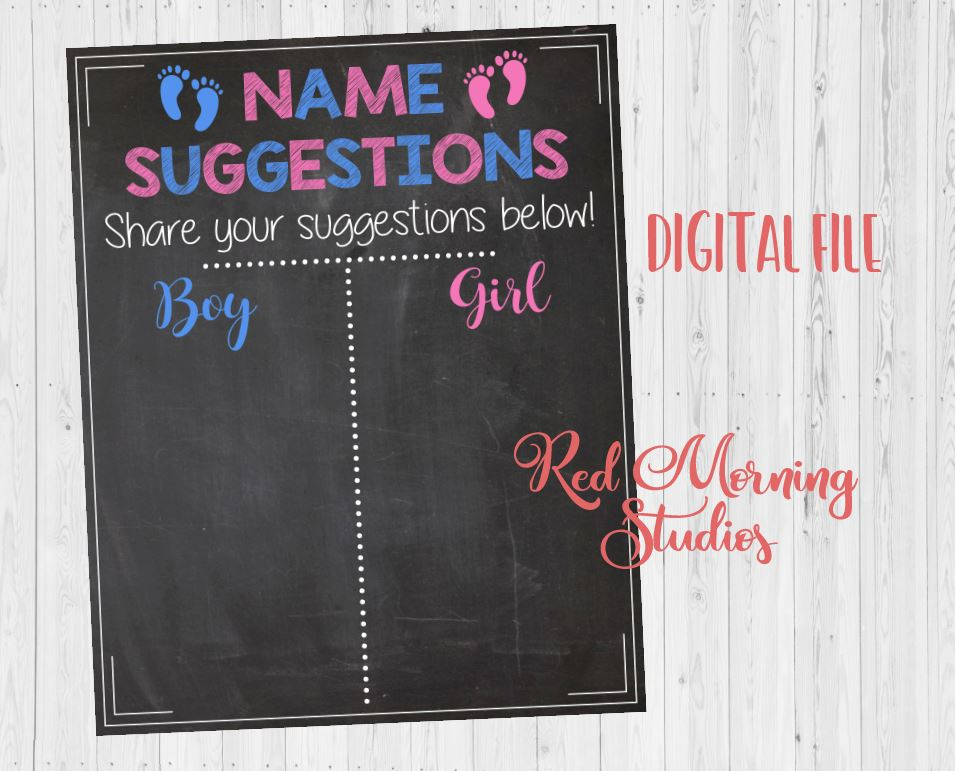 Name Suggestions baby shower sign - PRINTABLE
