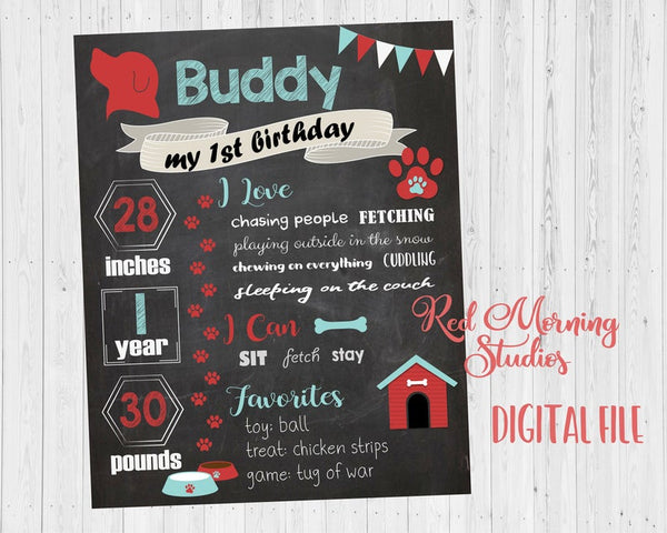 Dog Birthday sign for dog. Chalkboard sign. PRINTABLE puppy 1st birthday for pet. first. dog birthday party decorations