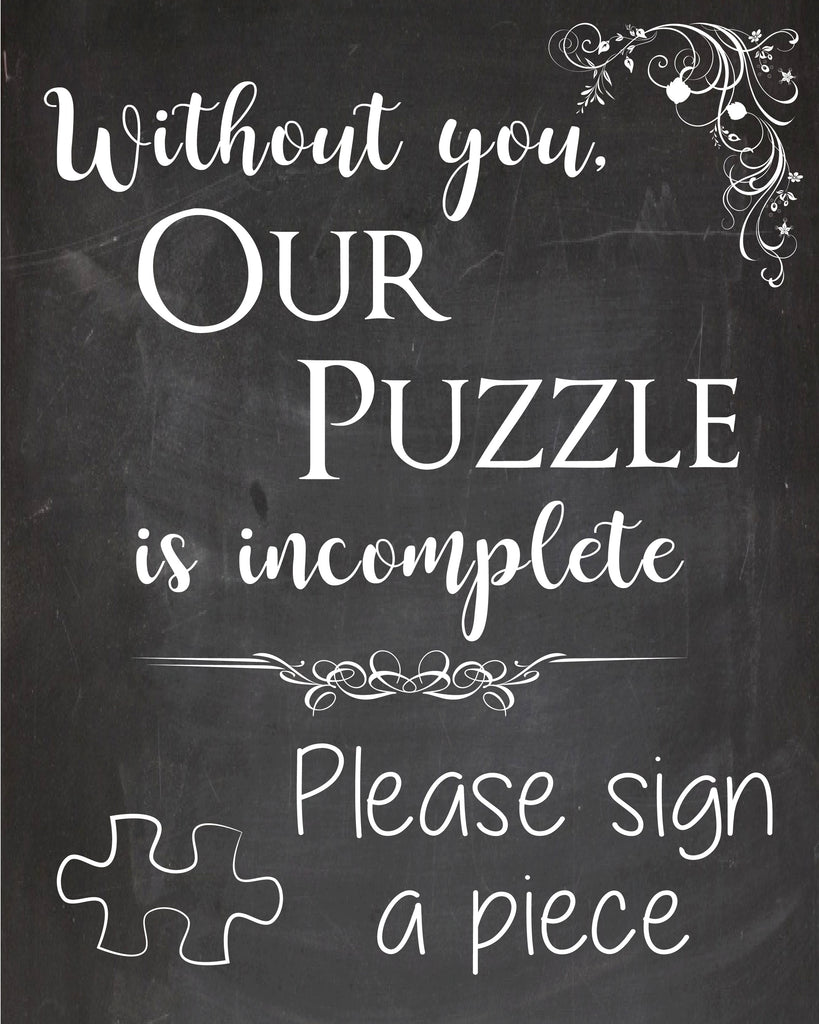 Wedding Puzzle Guestbook sign. PRINTABLE. wedding puzzle guest book sign. wedding chalkboard. puzzle is incomplete. please sign a piece