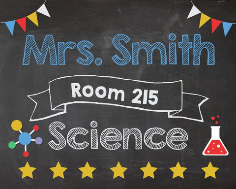 Science Teacher Door Sign. PRINTABLE. Teacher Science name room number sign. Science teacher Classroom Decor Decorations. Back to School