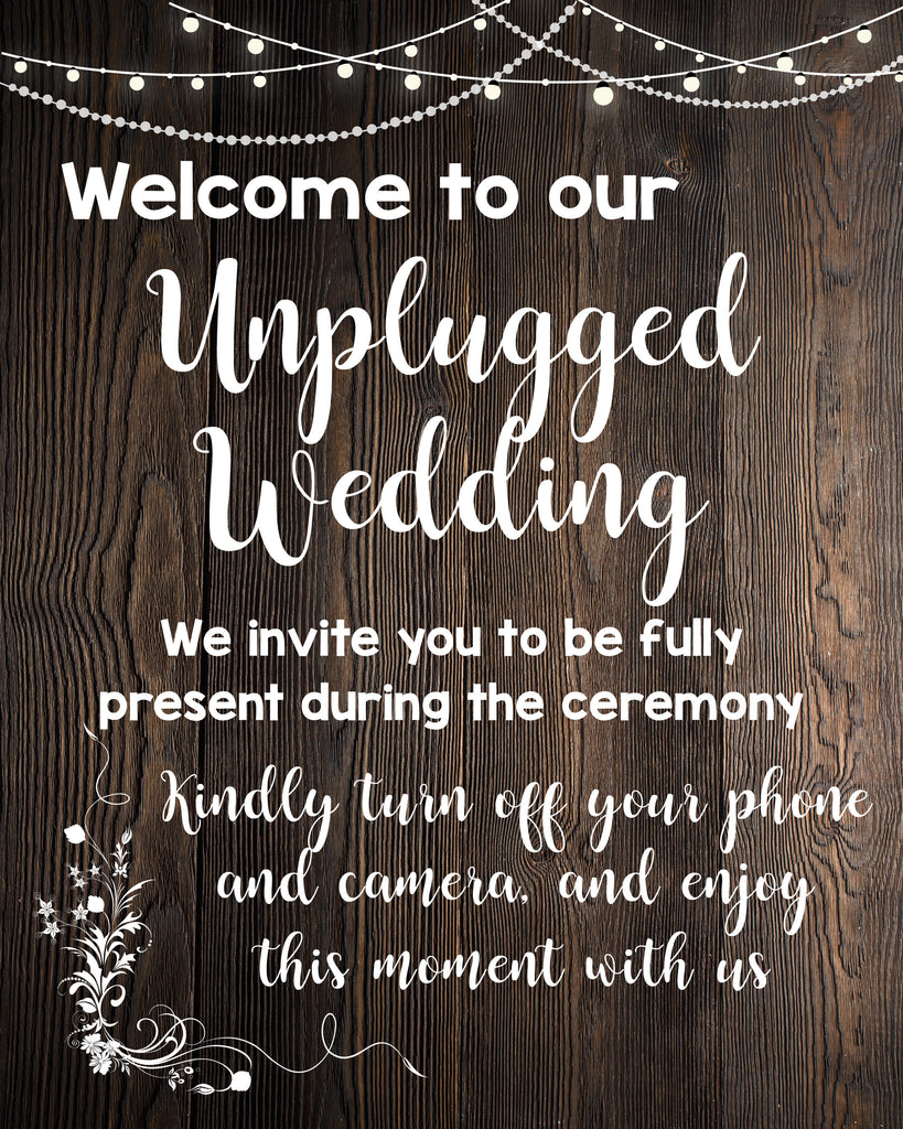 picture regarding Wedding Sign Printable named Unplugged Wedding day rustic indication PRINTABLE