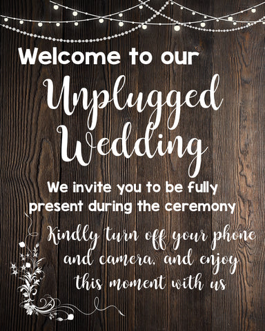 unplugged wedding sign rustic printable digital instant download unplugged ceremony no cell phones announcement poster