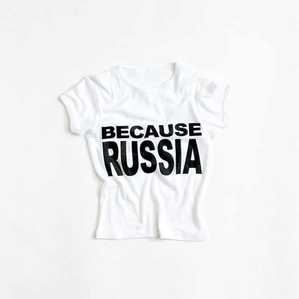 BECAUSE RUSSIA - WOMENS' BABY TEE AND TANK - Single-Payer Benefits US