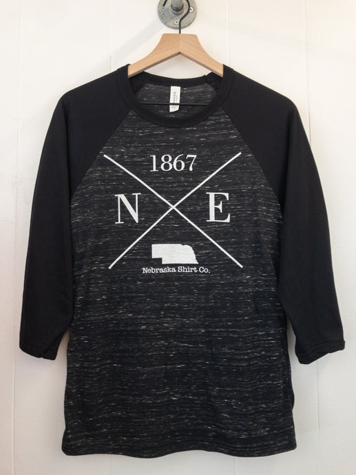 1867 Unisex Baseball Tee - Black/Heather Black