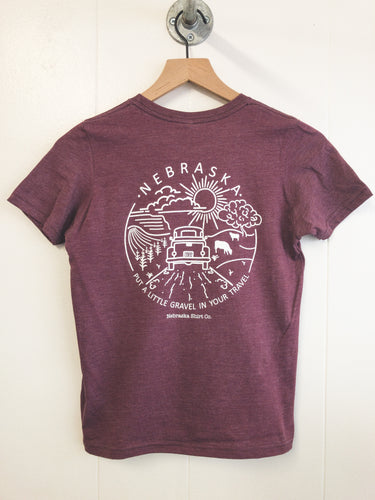 Gravel In Your Travel Youth Unisex Tee - Heather Maroon