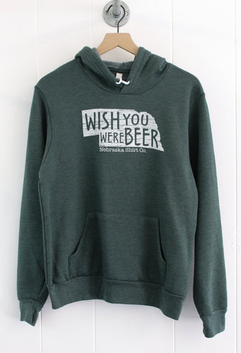 Wish You Were Beer Unisex Hoodie - Heather Green