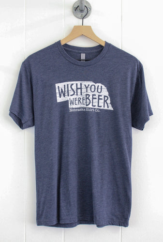 Wish You Were Beer Unisex Tee - Vintage Navy