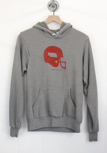 Nebraska Football Helmet Unisex Hoodie - Heather Grey