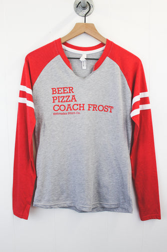 Beer, Pizza, Coach Frost Women's Relax Fit Long Sleeve - Grey/Red