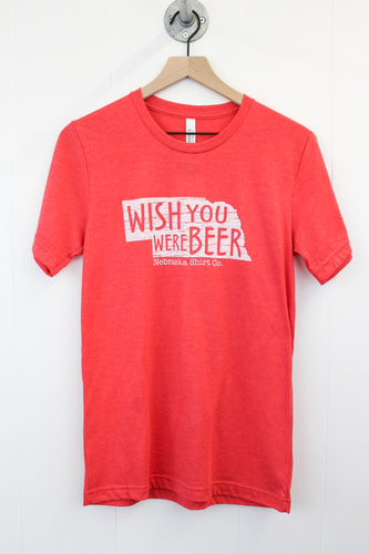 Wish You Were Beer Tee - Heather Red