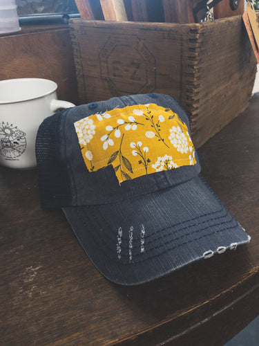 Yellow Nebraska patch - navy trucker hat