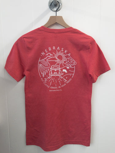 Gravel in Your Travel Unisex Tee - Heather Red