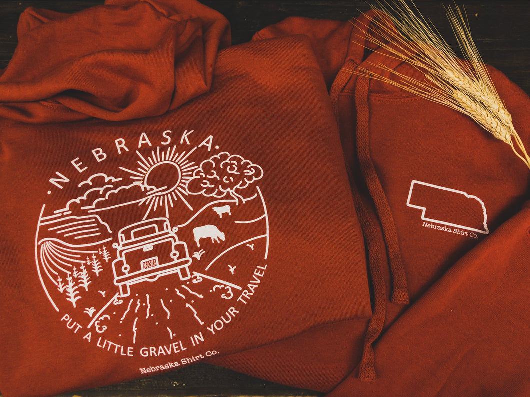 Gravel in your Travel Unisex Hoodie Burnt Orange