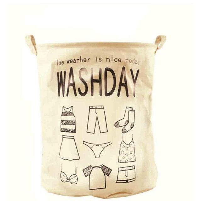 Foldable Cotton Laundry Hamper Wash Day