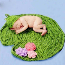 Baby Crochet Lotus Leaf Blanket and Frog Hat Costume
