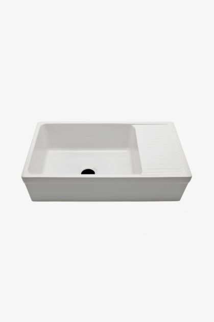 "WATERWORKS CASK56 Clayburn 35 1/2"" x 19 3/4"" x 10"" Fireclay Farmhouse Apron Kitchen Sink with Center Drain and Drainboard"