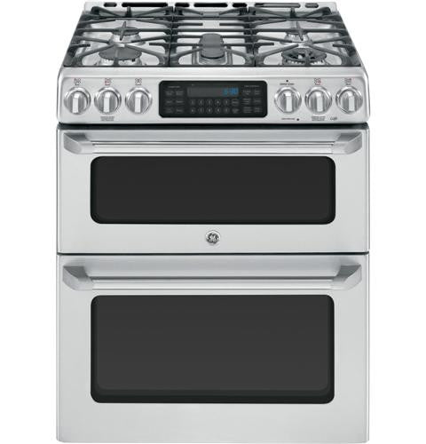 "GE CGS990SETSS Café™ Series 30"" Slide-In Front Control Gas Double Oven with Convection Range"