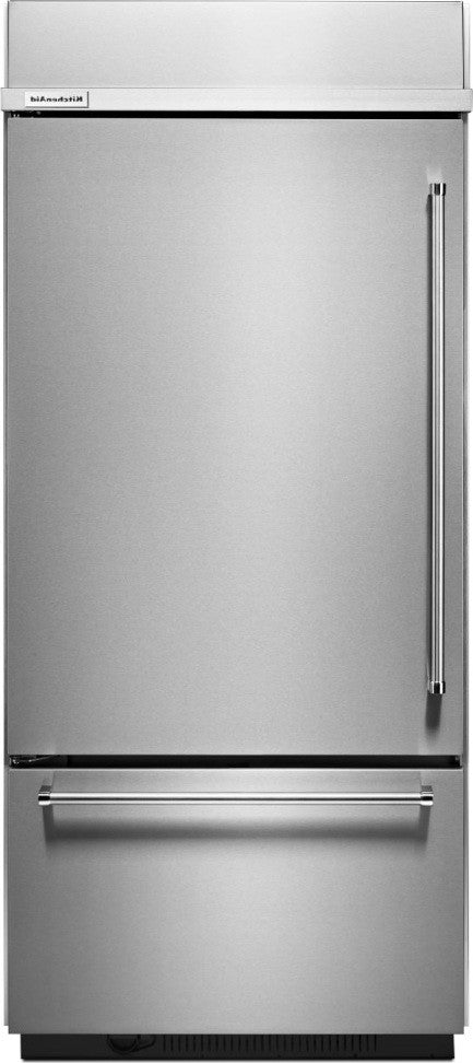 "KITCHENAID 20.9 Cu. Ft. 36"" Width Built-In Stainless Bottom Mount Refrigerator KBBL306ESS"