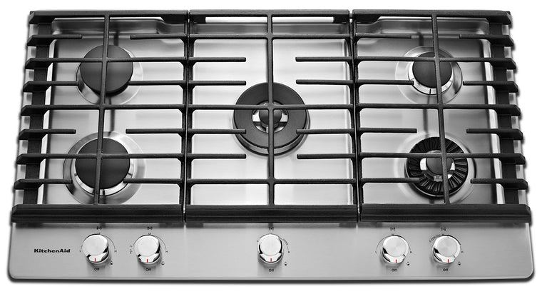 KITCHENAID NEW 36'' 5-Burner Gas Cooktop with Griddle KCGS956ESS