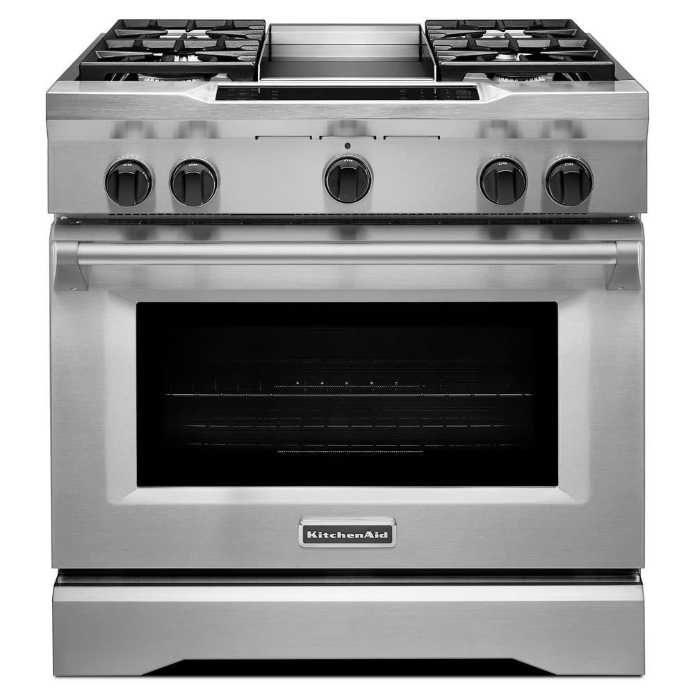 KITCHENAID KDRS463VSS 36u0027u0027 4 Burner With Griddle, Dual Fuel Freestanding  Range,