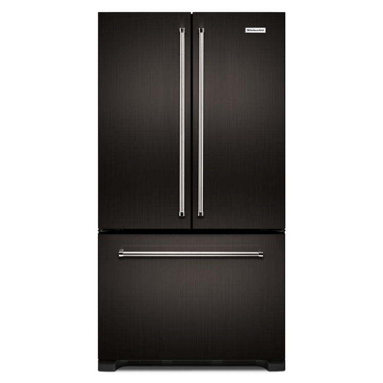 KitchenAid 36 in. W 21.9 cu. ft. French Door Refrigerator in Black Stainless KRFC302EBS
