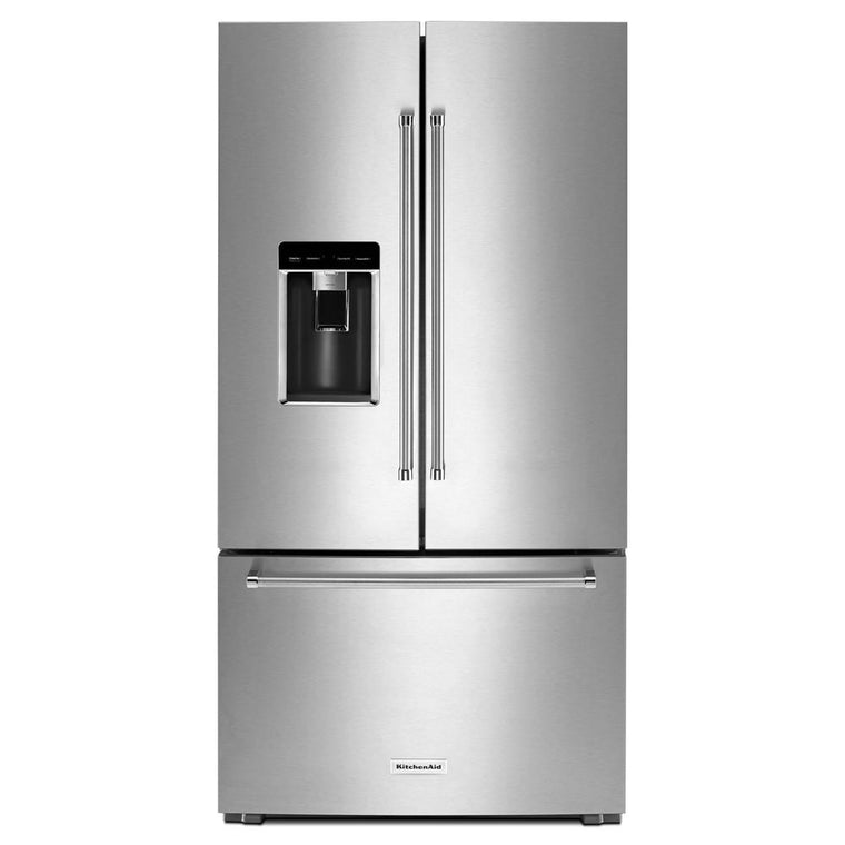 KitchenAid 36 in. W 23.8 cu. ft. French Door Refrigerator in Stainless Steel KRFC704FSS