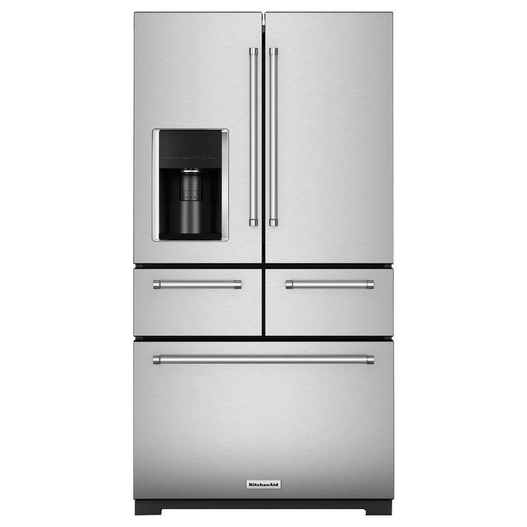 KitchenAid 36 in. W 25.8 cu. ft. French Door Refrigerator KRMF606ESS