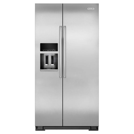 KitchenAid 36 in. W 22.7 cu. ft. Refrigerator in Monochromatic Stainless Steel KRSC503ESS