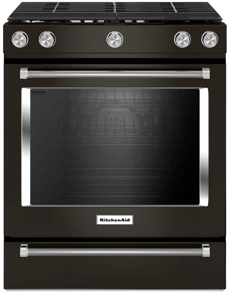KitchenAid KSGG700EBS 30-Inch 5-Burner Gas Slide-In Convection Range