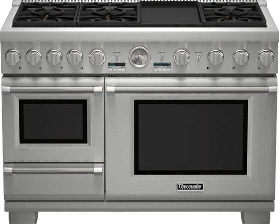 THERMADOR PRD48JDSGU 48 INCH PROFESSIONAL SERIES PRO GRAND COMMERCIAL DEPTH DUAL FUEL STEAM RANGE