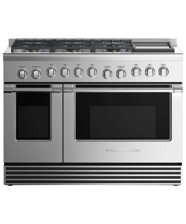 "FISHER & PAYKEL RDV2-486GD-N_N  Dual Fuel Range 48"", 6 Burners with Griddle"