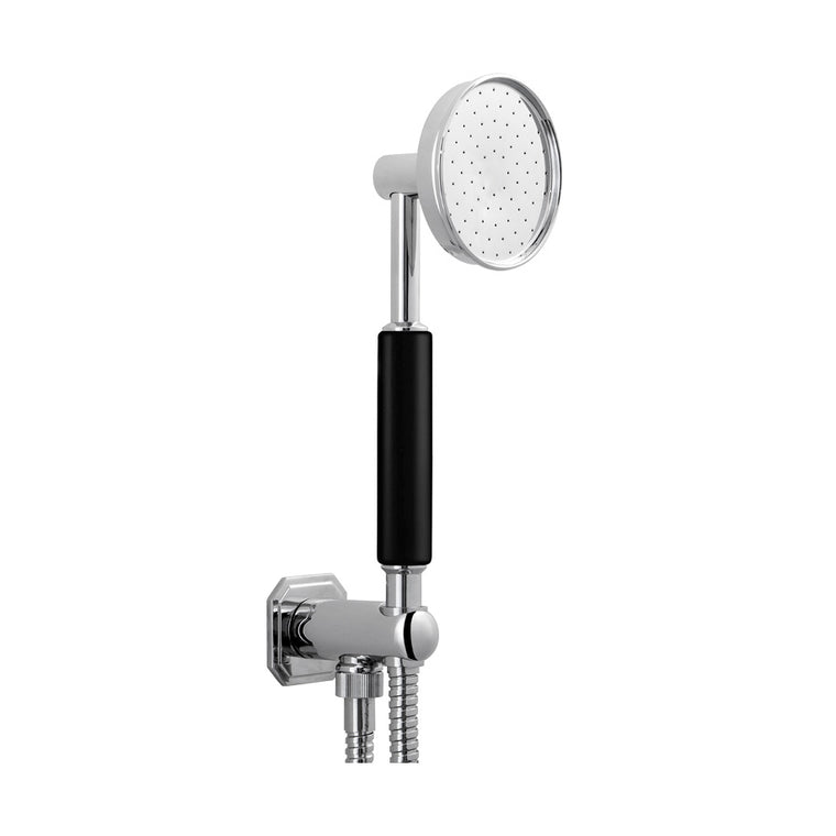 Waldorf Black Metallic Handshower Set with Hexagonal Outlet & Bracket
