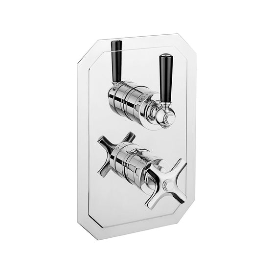 Waldorf Black Lever 1500 Thermostatic Trim with Integrated Volume Control/Diverter for Independent 2 Outlet Use