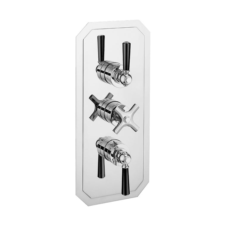 Waldorf Black Lever 2000 Thermostatic Trim with 2 Integrated Volume Controls