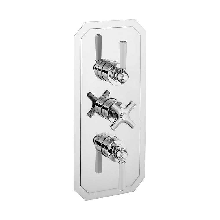Waldorf White Lever 2000 Thermostatic Trim with 2 Integrated Volume Controls